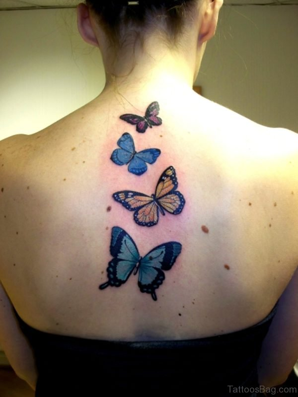 Colored Butterfly Tattoo Design