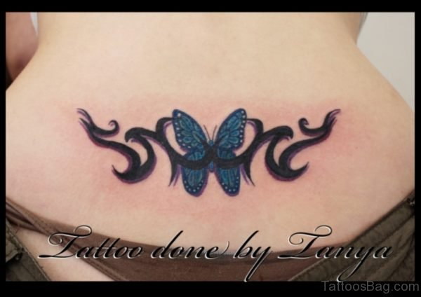 Colored Butterfly Tattoo On Lower Back