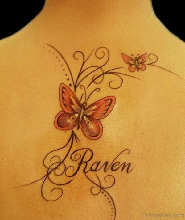 Colored Butterfly And Name Tattoo