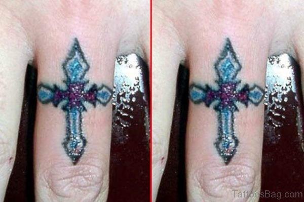 Colored Cross Tattoo Design