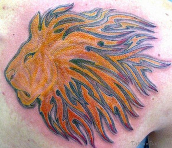 Colored Designer Lion Tattoo