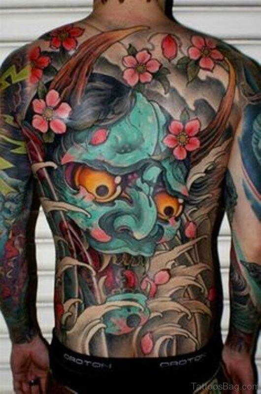 Colored Devil Mask Tattoo