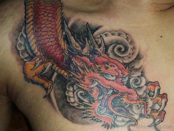 Colored Dragon Tattoo On Chest