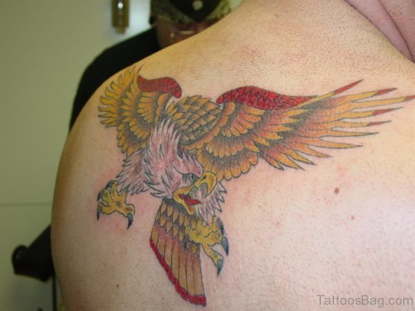 Colored Eagle Tattoo On Back