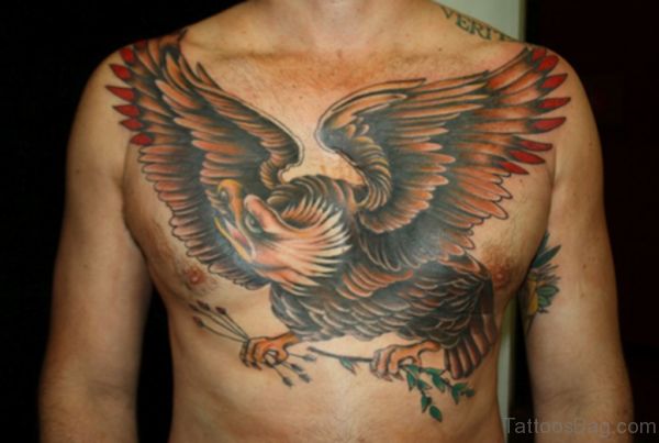 Colored Eagle Tattoo On Man Chest