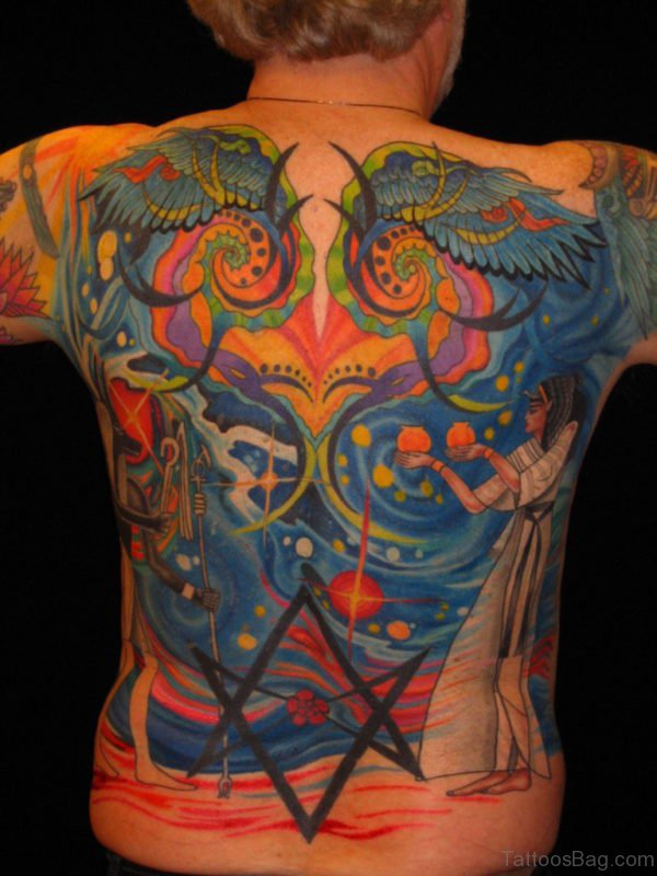 Colored Egyptian Tattoo On Back