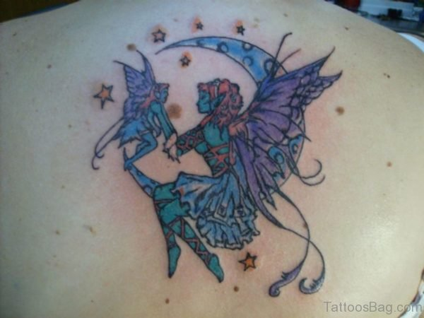 Colored Fairy And Moon Tattoo