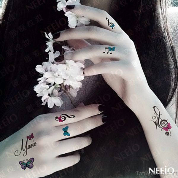 Colored Finger Tattoo