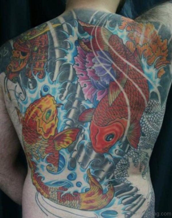 Colored Fish Tattoo On Back