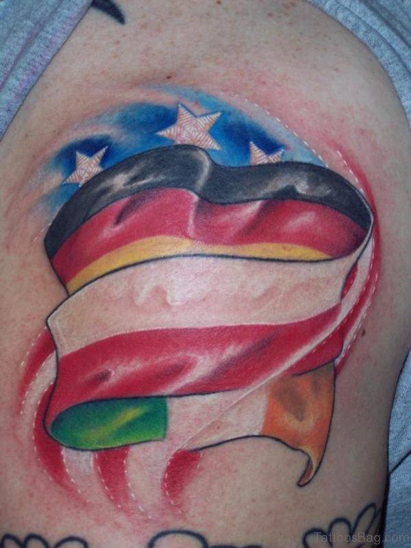Colored Flag Tattoo