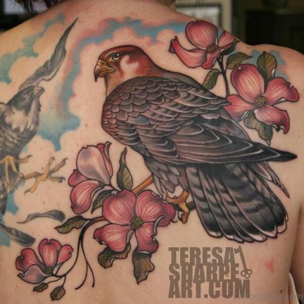 Colored Flower And Eagle Tattoo