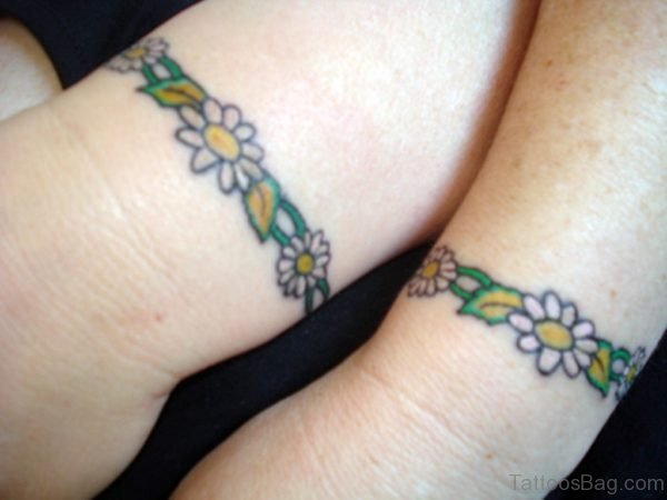 Colored Flower Band Tattoo