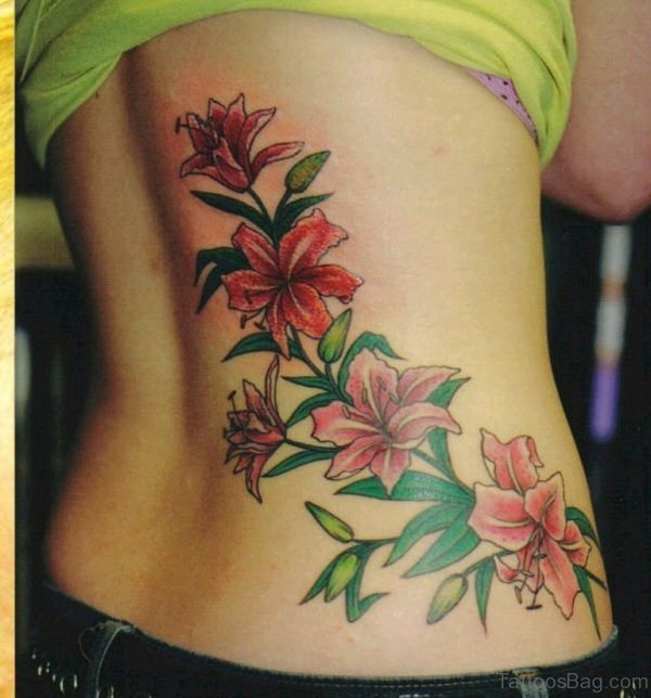 Colored Flower Tattoo On Back