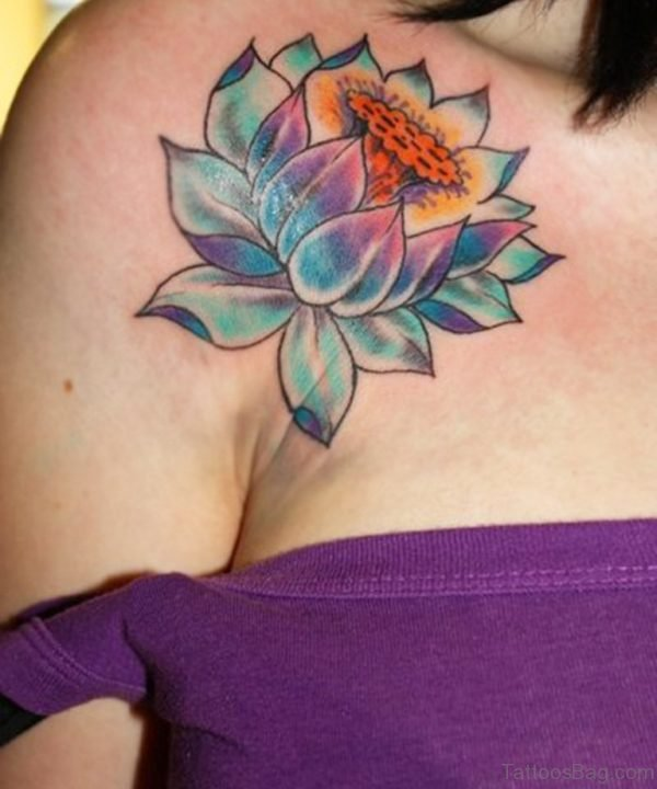 Colored Flower Tattoo On Front Shoulder
