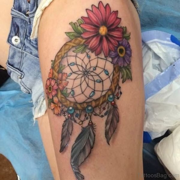 Colored Flowers And Dreamcatcher Tattoo