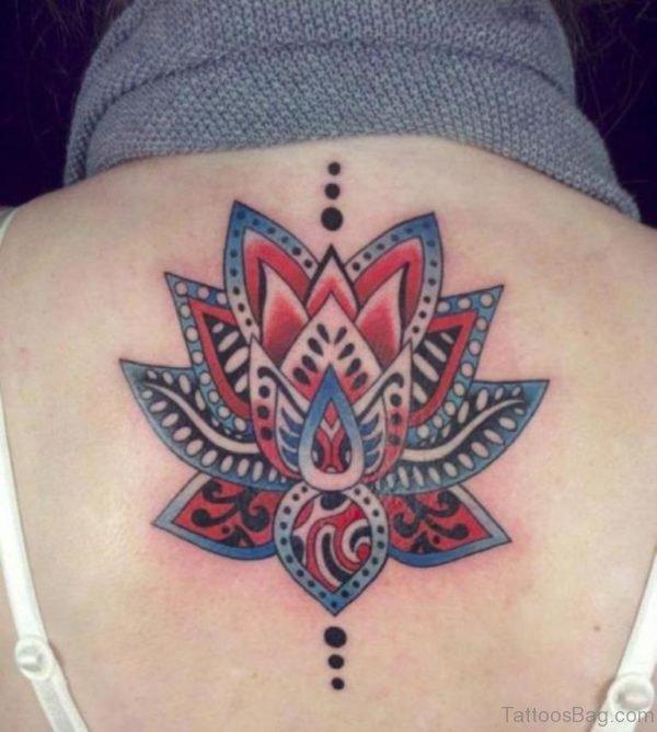 Colored Geometric Lotus Tattoo On Back