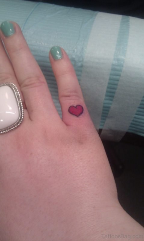 Colored Heart Finger Tattoo