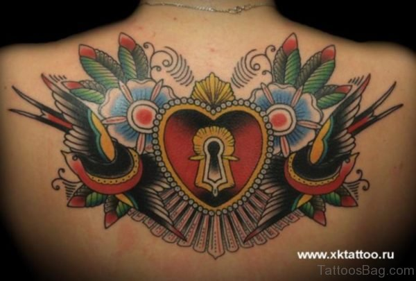 Colored Heart Tattoo On Back