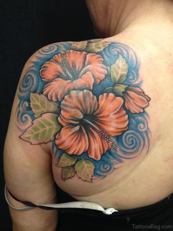 Colored Hibiscus Flower Tattoo