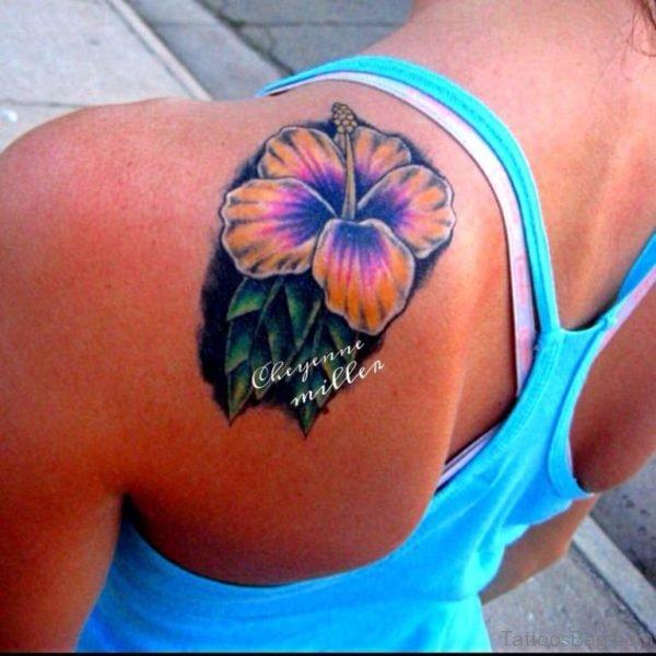 Colored Hibiscus Tattoo