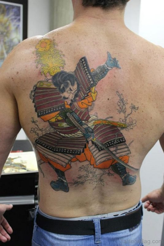 Colored Japanese Samurai Tattoo