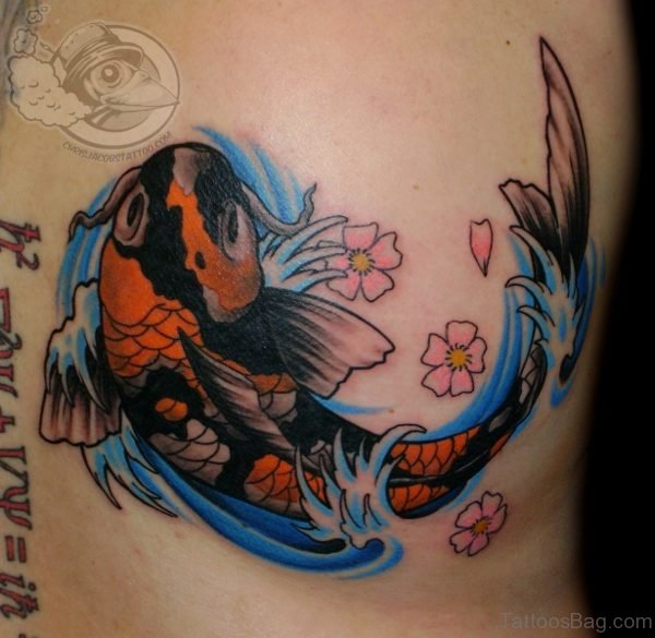 Colored Koi Fish & Cherry Blossoms Tattoo