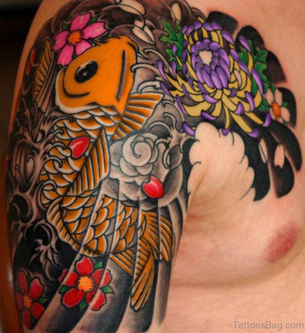 Colored Koi Fish Tattoo
