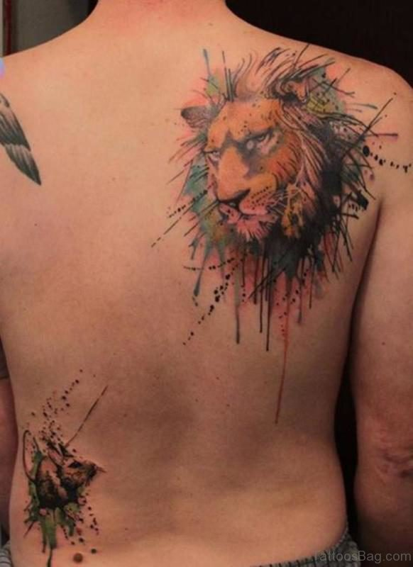 Colored Lion Shoulder Tattoo Design