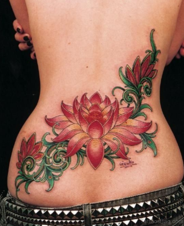 Colored Lotus Flower Tattoo