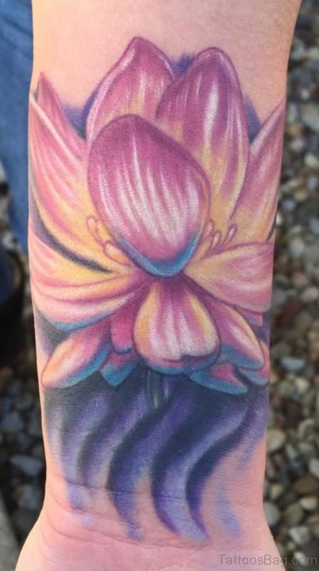 Colored Lotus Tattoo On Wrist