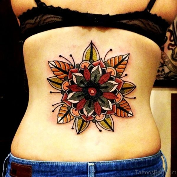 Colored Mandala Tattoo On Lower Back