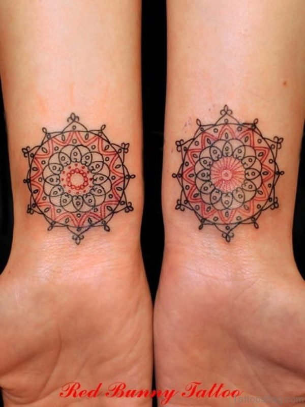 Colored Mandala Tattoo On Wrist