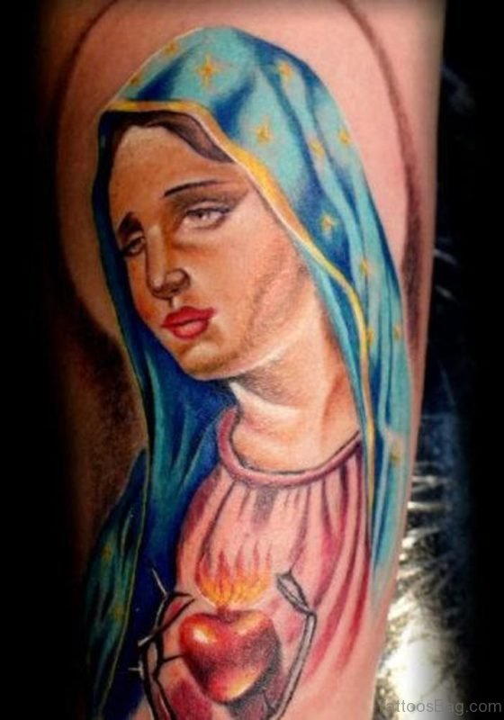 Colored Mary Designer Tattoo