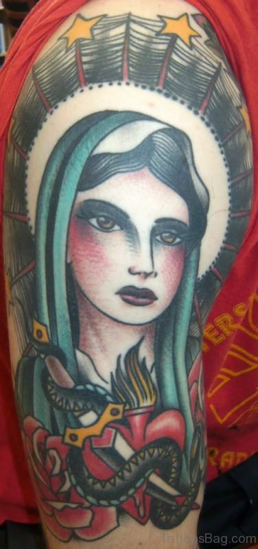 Colored Mary Shoulder Tattoo Design