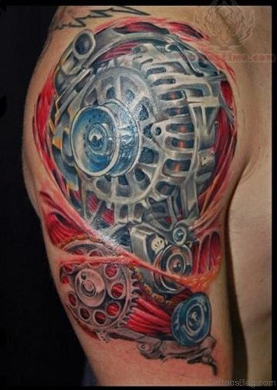 Colored Mechanical Tattoo On Shoulder