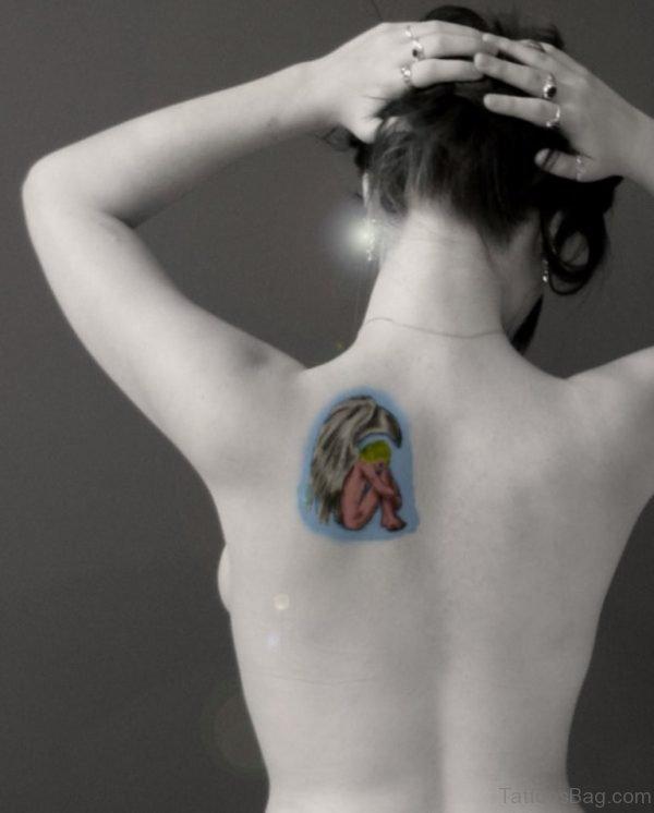 Colored Memorial Angel Tattoo Design