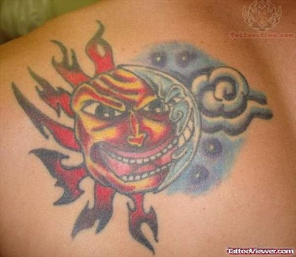Colored Moon Tattoo