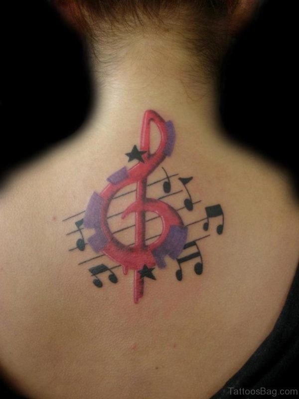 Colored Music Note Tattoo