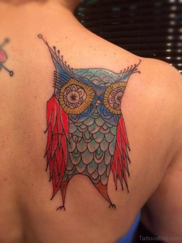 Colored Owl Tattoo Design On Back