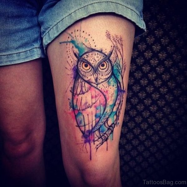 Colored Owl Tattoo