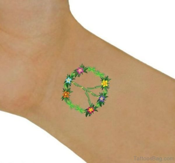Colored Peace Tattoo