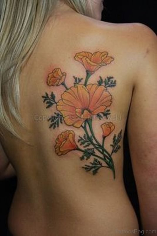 Colored Poppy Tattoo On Back