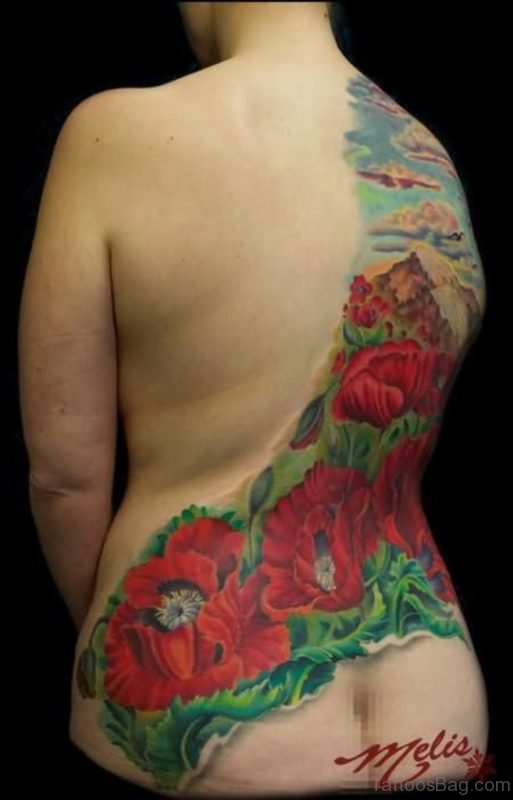 Colored Poppy Tattoo On Full Back