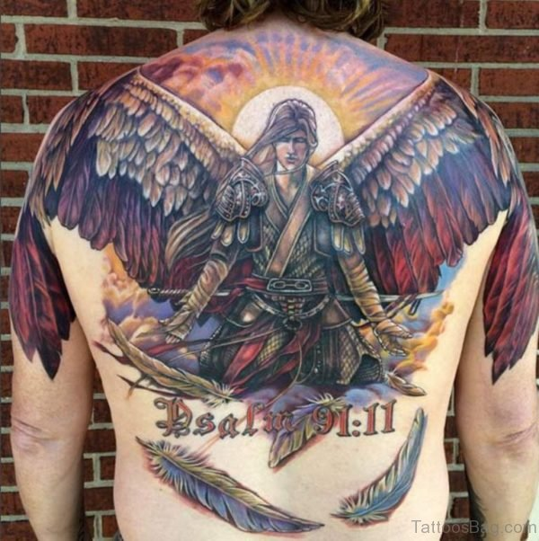 Colored Religious Tattoo On Back