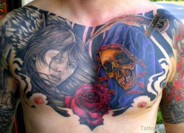 Colored Rose And Skull Tattoo