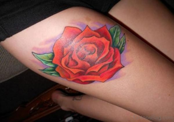 Colored Rose Tattoo On Thigh