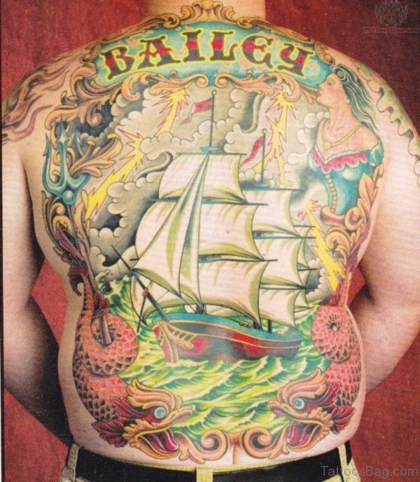 Colored Ship Tattoo Design