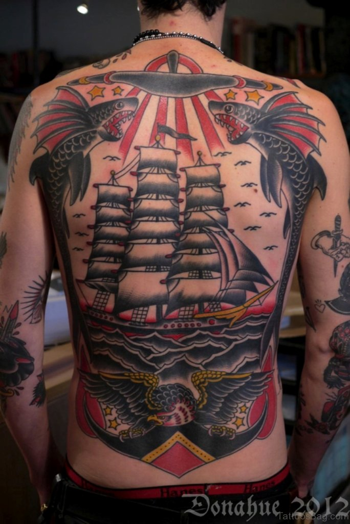 51 Classic Ship Tattoos On Back