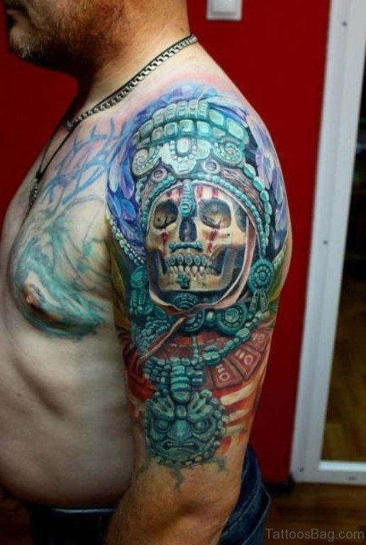 Colored Skull Aztec Tattoo On Shoulder