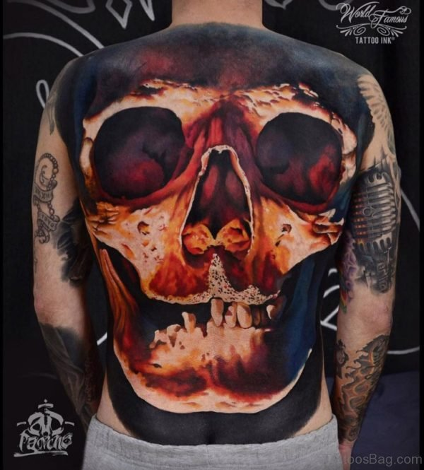 Colored Skull Tattoo On Full Back